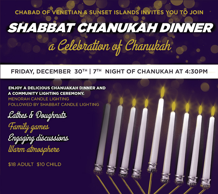 Reserve OnlineChanukah Dinner   Chabad of the Venetian   Sunset Islands   Jewish  . Shabbat Candle Lighting Miami. Home Design Ideas